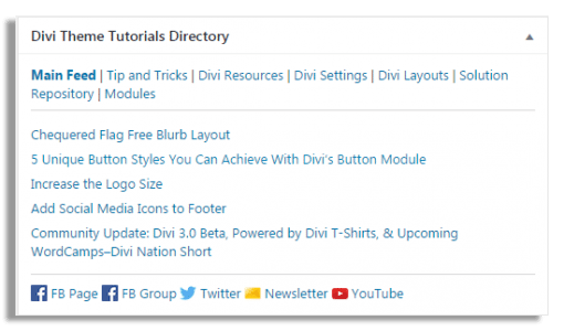 Divi Theme Tutorials News Widget