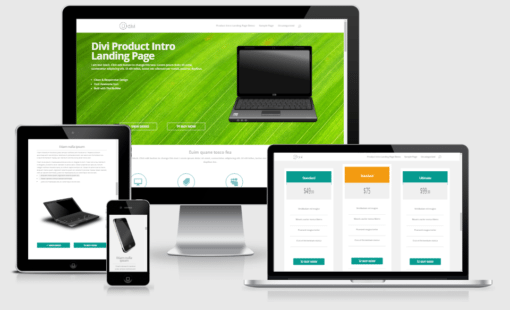 Product intro landing page layout for Divi builder
