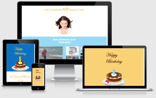 Create a personalized website for a birthday in minutes with this gorgeous one page Divi layout.