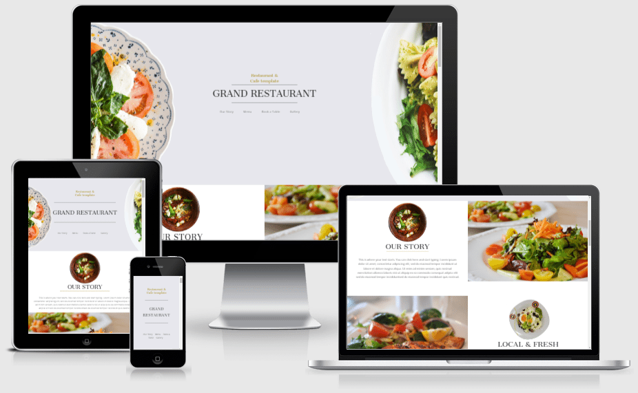 Divi restaurant one page layout for builder