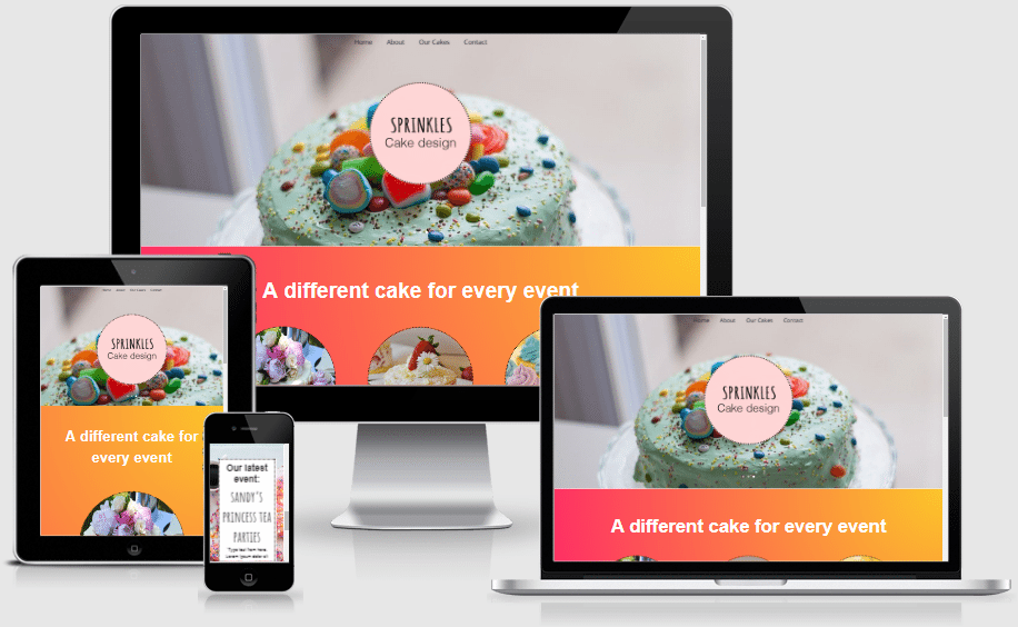 A pack of 4 Divi page layouts that designed specifically for a Cake shop.