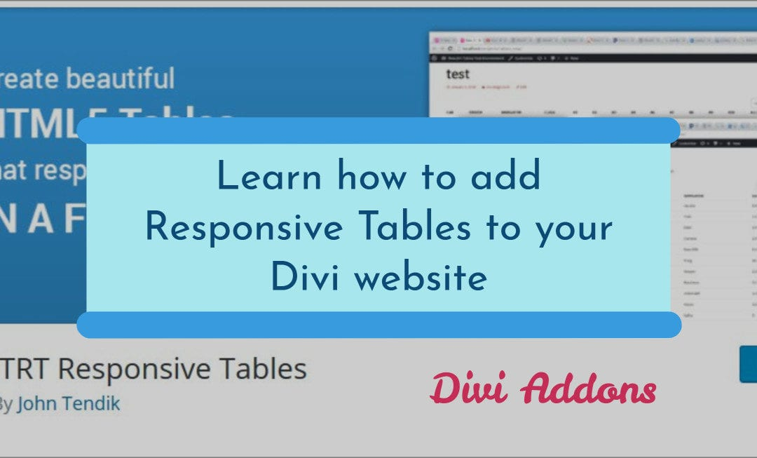 Learn how to add Responsive Tables to your Divi Theme website
