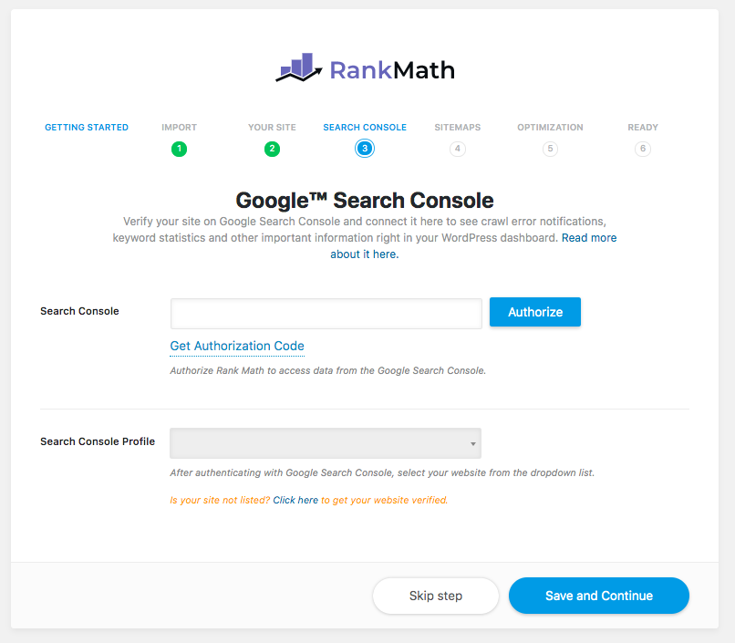 Rank Math SEO Connect Google Search Console