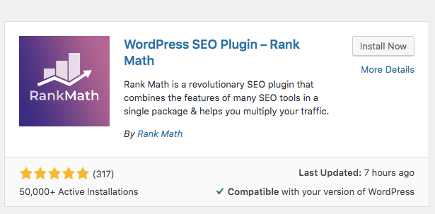 Rank Math SEO Install