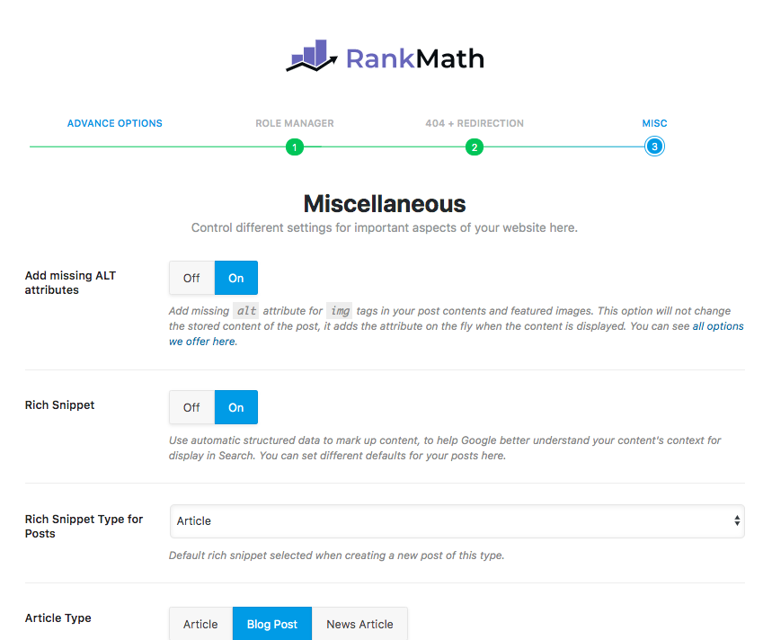 Rank Math SEO Misc Settings