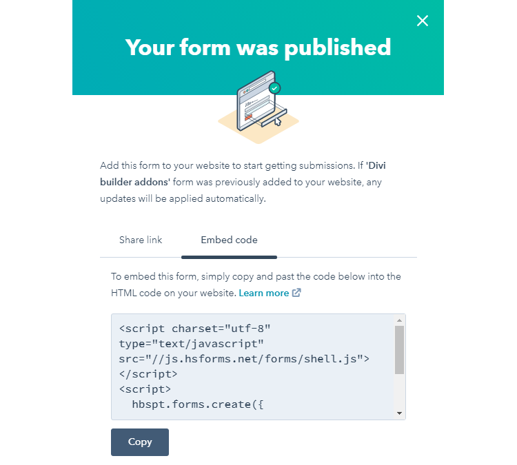 Hubspot Embed Code in Divi Theme