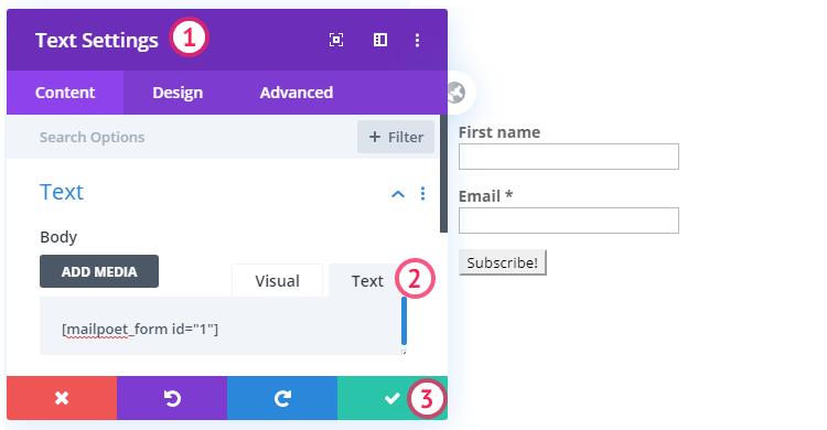 Adding MailPoet code to a Divi module