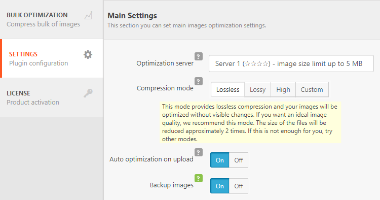 Robin image optimizer plugin dashboard