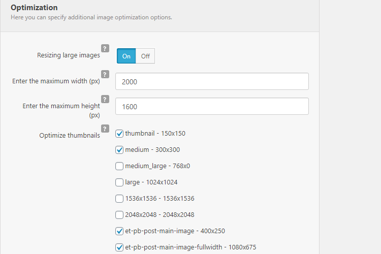 Robin image optimizer settings